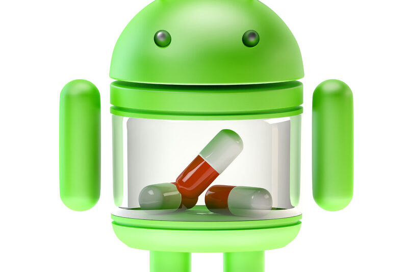 Google Android Robot with pills. 3D illustration. Isolated. Contains clipping path - slon.pics - free stock photos and illustrations