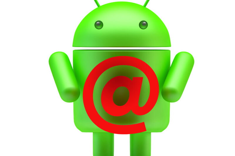 Google Android Robot with red e-mail symbol. 3D illustration. Isolated. Contains clipping path - slon.pics - free stock photos and illustrations