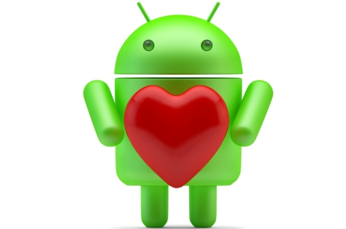 Google Android Robot with red heart. 3D illustration. Isolated. Contains clipping path - slon.pics - free stock photos and illustrations