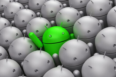 Green Android robot in the middle of grey crowd - slon.pics - free stock photos and illustrations