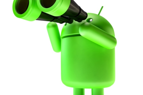 Green Android robot with binoculars. 3D illustration. Isolated. Contains clipping path - slon.pics - free stock photos and illustrations