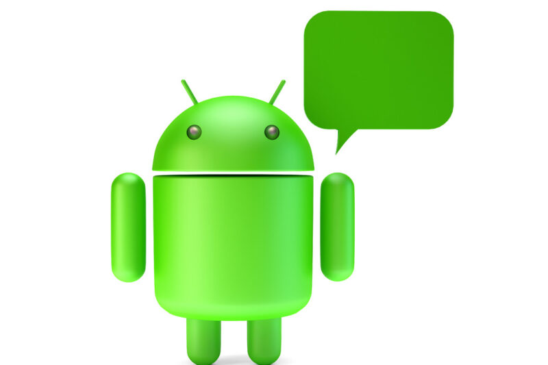 Green Android robot with chat bubble. 3D illustration. Isolated. Contains clipping path - slon.pics - free stock photos and illustrations