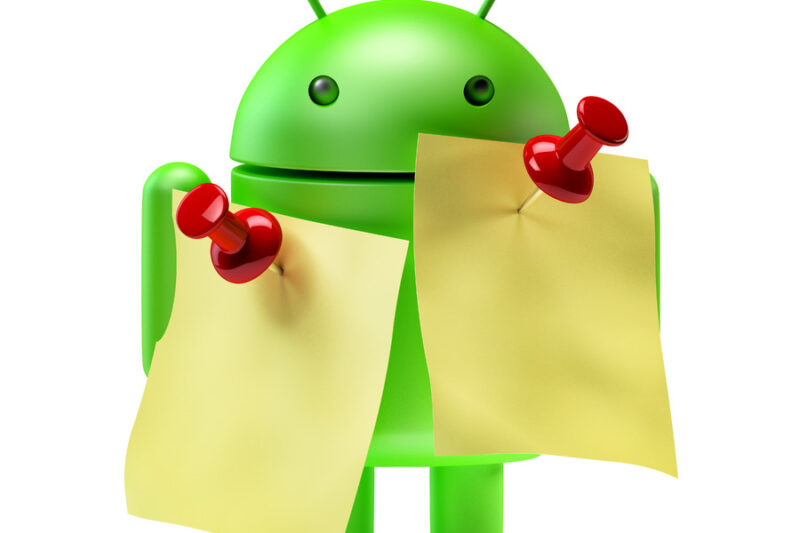 Green Android robot with memo notes. 3D illustration. Isolated. Contains clipping path - slon.pics - free stock photos and illustrations