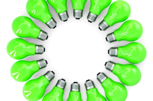 Green light bulbs forming a frame. Isolated. Contains clipping path - slon.pics - free stock photos and illustrations