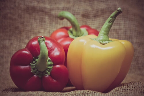 Group of bell peppers on rustic burlap background - slon.pics - free stock photos and illustrations