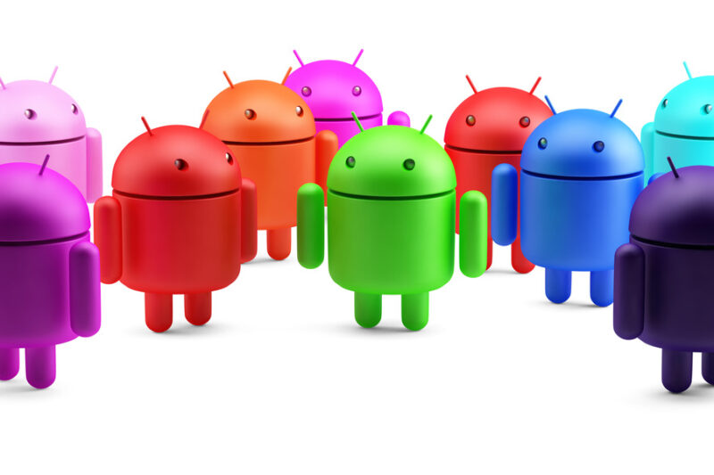 Group of colorful android robots. 3D illustration. Isolated. Contains clipping path - slon.pics - free stock photos and illustrations