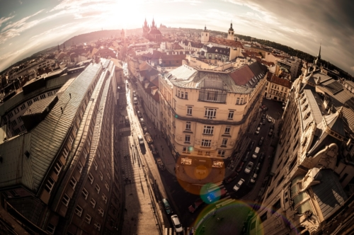 High angle view of the narrow streets. Prague old town, Czech Republic - slon.pics - free stock photos and illustrations
