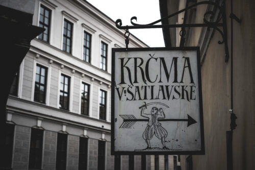 Inn sign. Cesky Krumlov, Czech Republic - slon.pics - free stock photos and illustrations