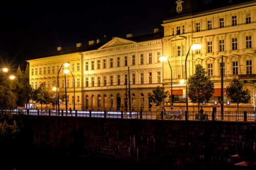 Janackovo embankment (Janackovo nabrezi) at night. Prague, Czech Republic - slon.pics - free stock photos and illustrations