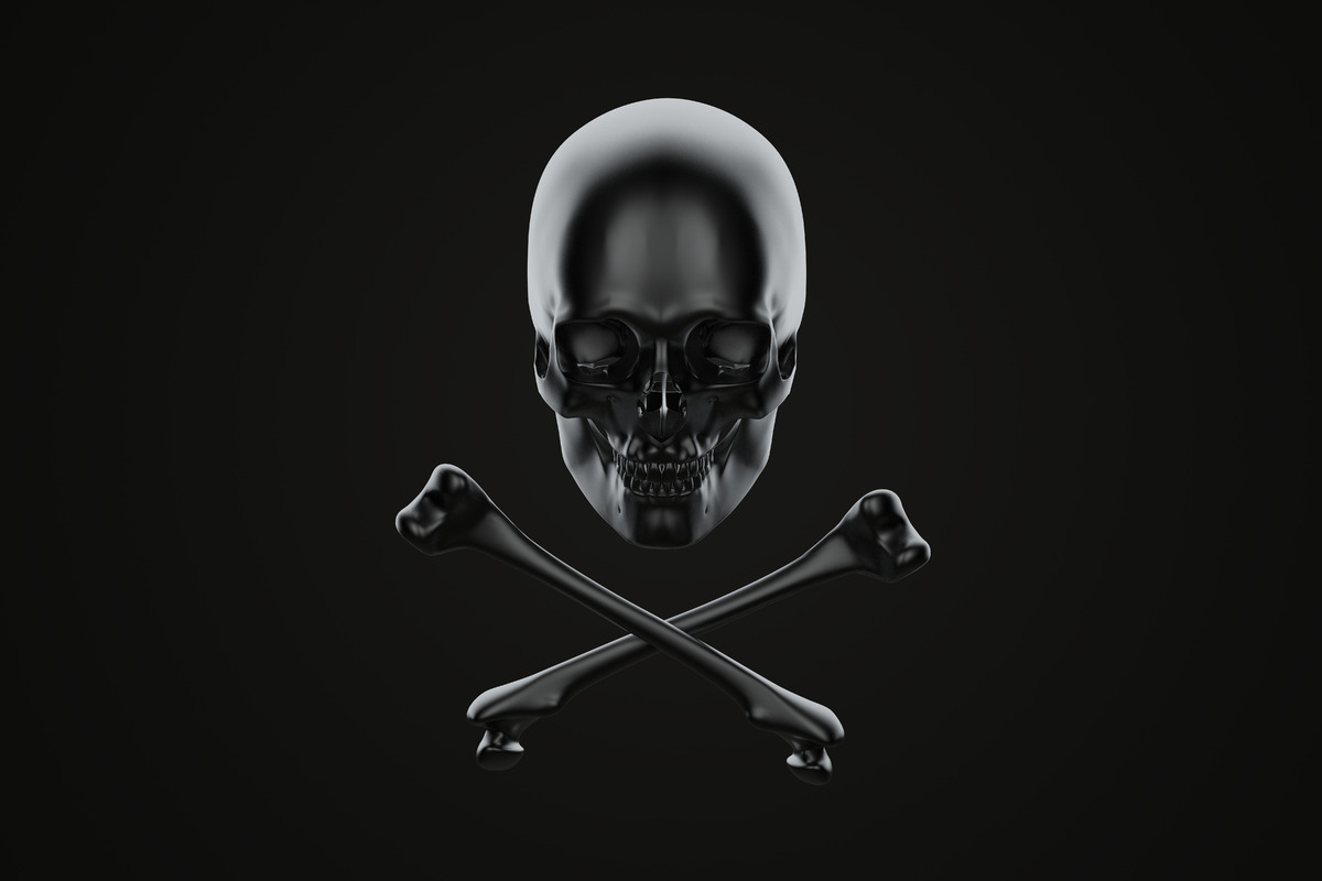 Jolly Roger, skull and crossbones. 3d illustration. Contains clipping path - slon.pics - free stock photos and illustrations