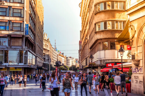 Knez Mihailova Street, the main shopping mile of Belgrade. September 23, 2015 - slon.pics - free stock photos and illustrations