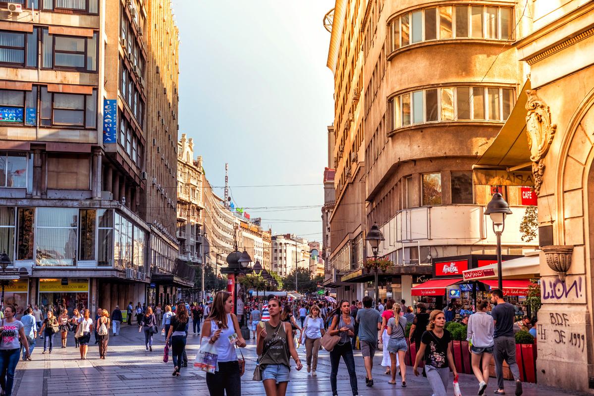 Knez Mihailova Street, the main shopping mile of Belgrade. September 23, 2015 - slon.pics - free stock photos and illustrations