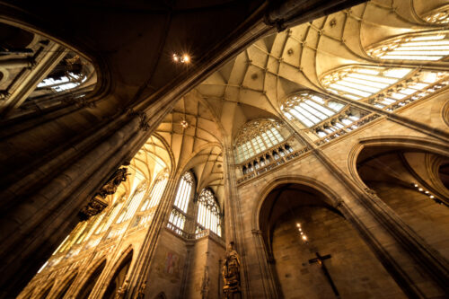 Main nave of St Vitus's Cathedral. Prague, Czech Republic - slon.pics - free stock photos and illustrations
