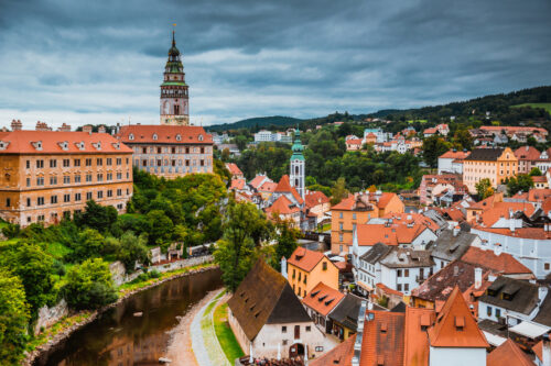 Overlooking the historic town centre of Cesky Krumlov. Czech Republic - slon.pics - free stock photos and illustrations