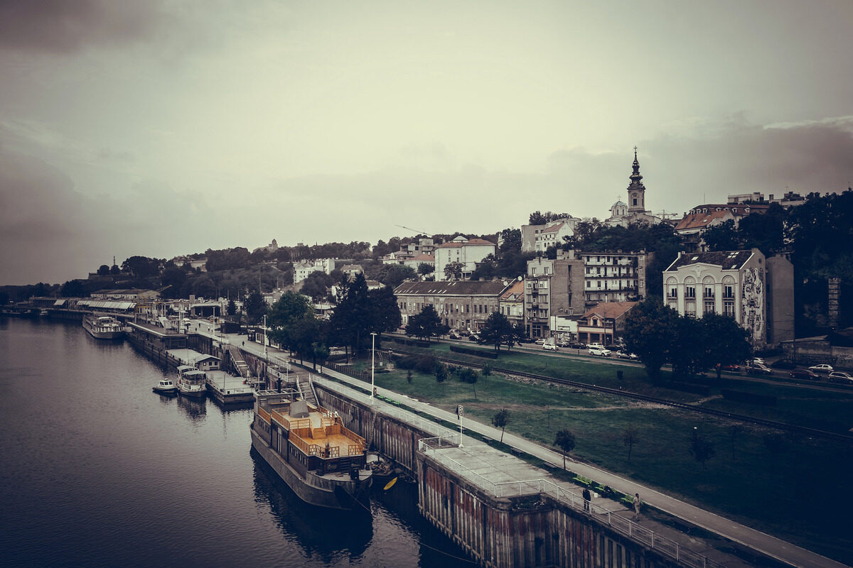 Panoramic view of Belgrade and Sava river. Republic of Serbia - slon.pics - free stock photos and illustrations