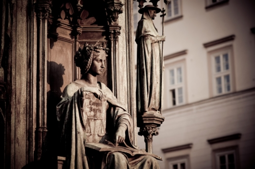 Personification of the Faculty of Law, decoration of the statue of Charles IV. Prague, Czech Republic - slon.pics - free stock photos and illustrations