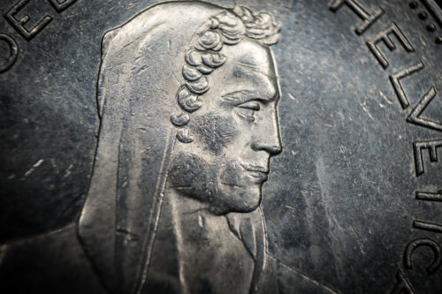 Portrait of William Tell from 5 Franc coin, Switzerland. Macro photo - slon.pics - free stock photos and illustrations