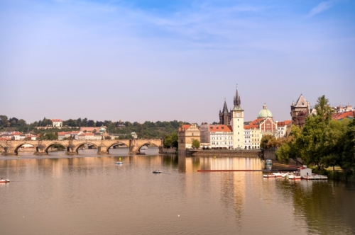 Prague towers, Charles Bridge and Vltava river on sunny day. Czech Republic - slon.pics - free stock photos and illustrations