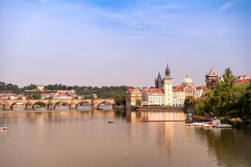 Prague towers, Charles Bridge and Vltava river on sunny day. Czech Republic - slon.pics - free stock photos and illustrations