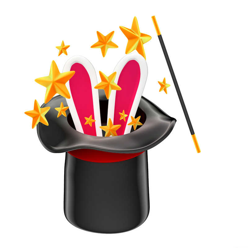 Rabbit in a magician hat. Isolated. Contains clipping path - slon.pics - free stock photos and illustrations