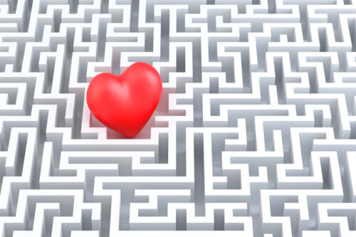 Red heart in the middle of the maze. 3d illustration - slon.pics - free stock photos and illustrations