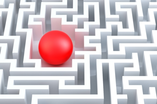 Red sphere in an abstract maze. 3d illustration - slon.pics - free stock photos and illustrations