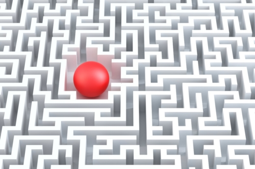 Red sphere in the center of the maze. - slon.pics - free stock photos and illustrations
