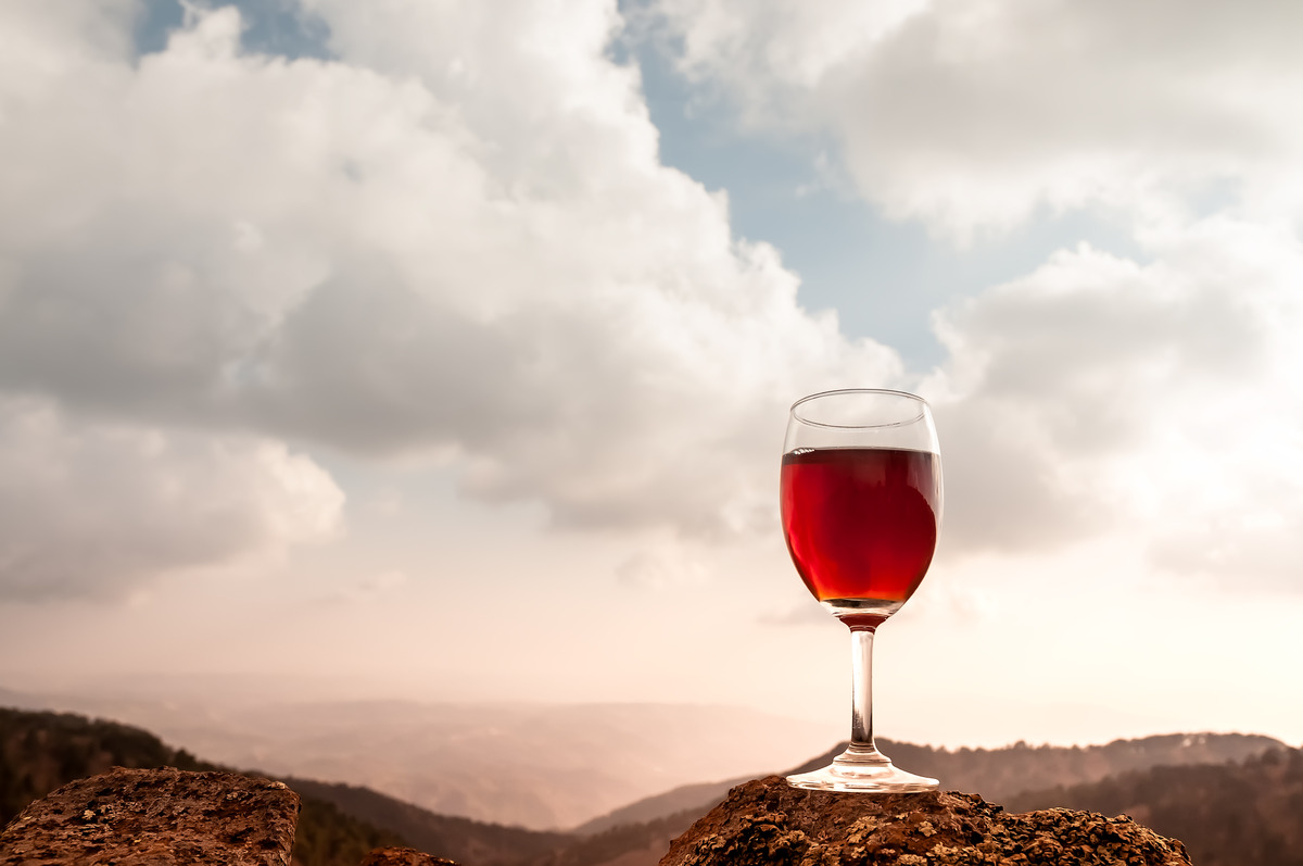 Red wine glass and beautiful autumn mountainscape - slon.pics - free stock photos and illustrations