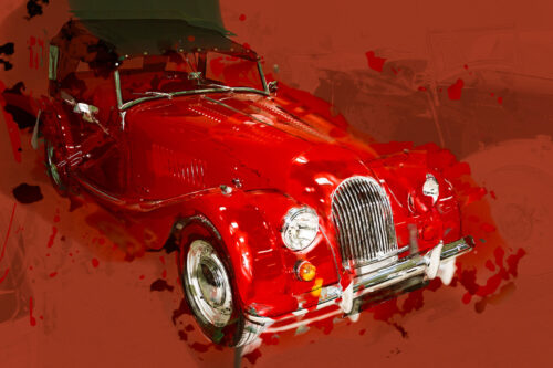Retro red classic car. Digital Illustration - slon.pics - free stock photos and illustrations