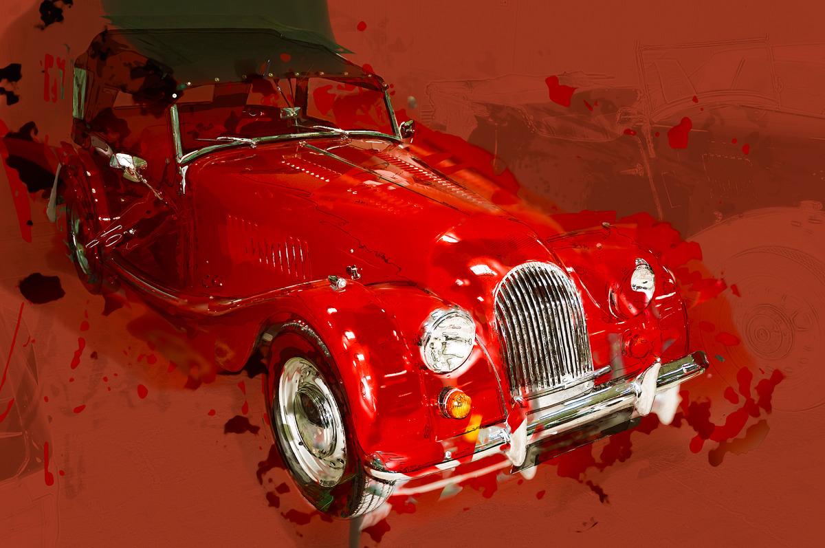 Retro red classic car. Digital Illustration - slon.pics - free stock photos and illustrations