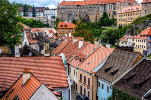 Rooftop view of the house surrounding. Cesky Krumlov, Czech Republic - slon.pics - free stock photos and illustrations