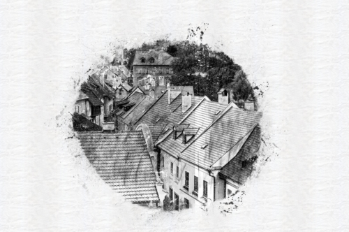 Rooftop view of the house surrounding. Cesky Krumlov, Czech Republic. Digital sketch - slon.pics - free stock photos and illustrations