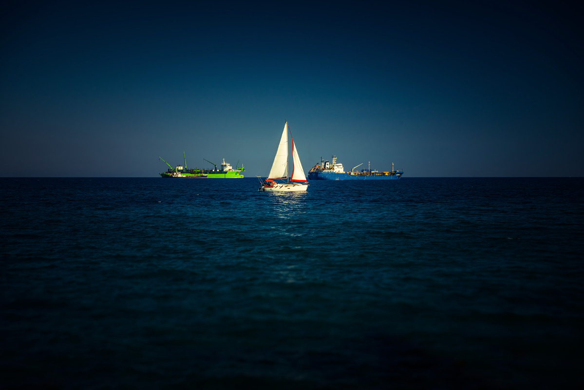 Sailboat in the middle of blue mediterranean sea - slon.pics - free stock photos and illustrations