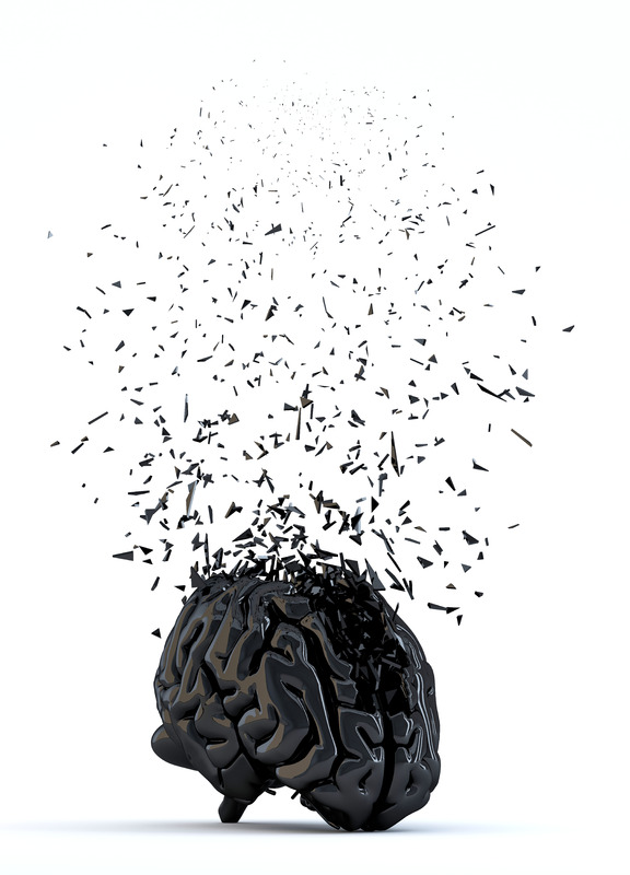 Shattered human brain. Stress concept. 3D illustration. Isolated - slon.pics - free stock photos and illustrations