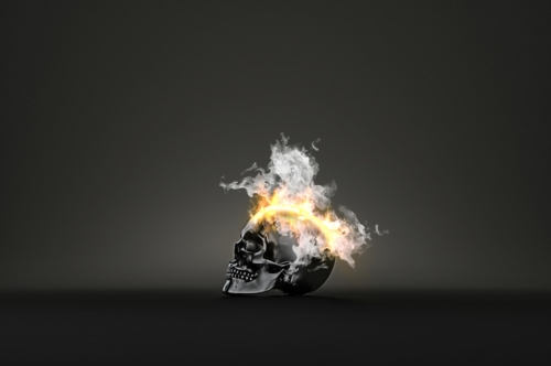 Skull burning in flames - slon.pics - free stock photos and illustrations
