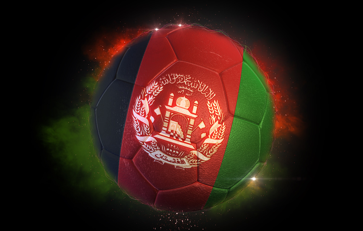 Soccer ball textured with flag of Afghanistan - slon.pics - free stock photos and illustrations