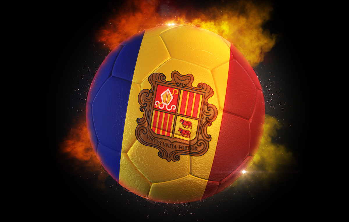 Soccer ball textured with flag of Andorra - slon.pics - free stock photos and illustrations