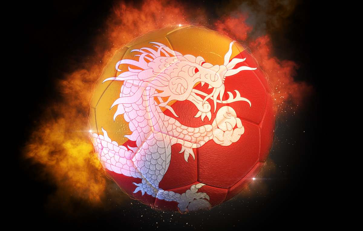 Soccer ball textured with flag of Bhutan - slon.pics - free stock photos and illustrations