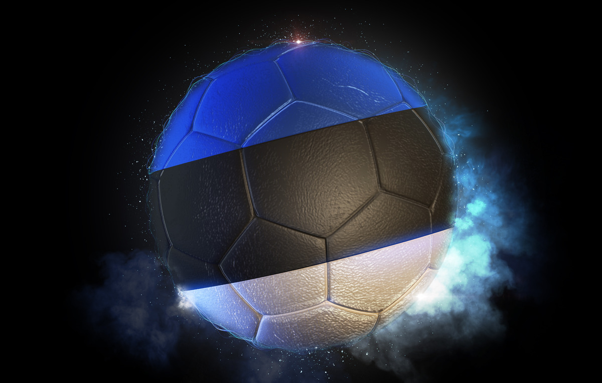 Soccer ball textured with flag of Estonia - slon.pics - free stock photos and illustrations
