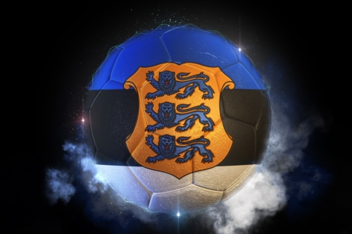 Soccer ball textured with flag of Estonia with coat of arms - slon.pics - free stock photos and illustrations