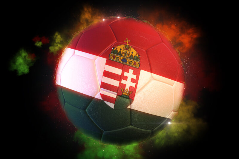 Soccer ball textured with flag of Hungary with Coat Of Arms - slon.pics - free stock photos and illustrations