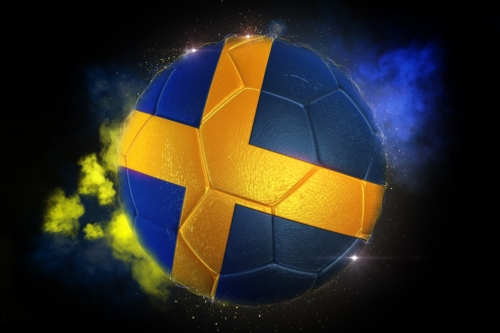 Soccer ball textured with flag of Sweden - slon.pics - free stock photos and illustrations