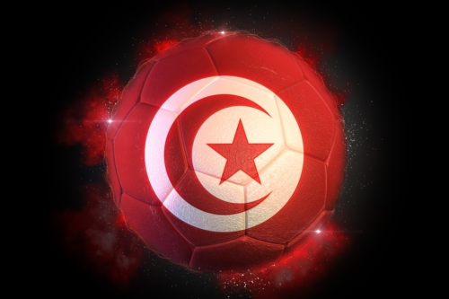 Soccer ball textured with flag of Tunisia - slon.pics - free stock photos and illustrations