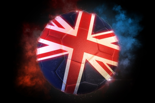 Soccer ball textured with flag of UK - slon.pics - free stock photos and illustrations