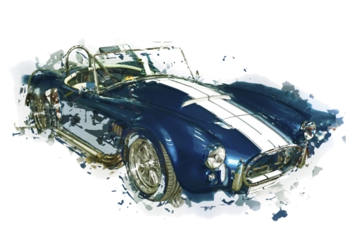 Sportive vintage cabriolet, side view. Isolated. Contains clipping path. Digital Illustration - slon.pics - free stock photos and illustrations