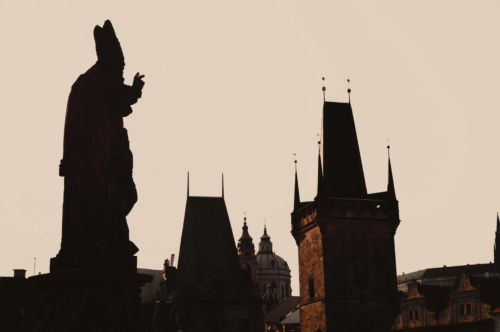 Statue silhouette at Charles bridge. Prague, Czech Republic - slon.pics - free stock photos and illustrations