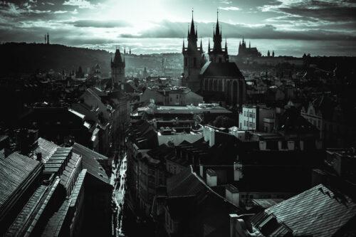 Sunset over Prague. Czech Republic. Monochrome photo - slon.pics - free stock photos and illustrations