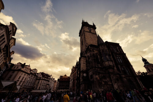 The Old Town Square at dusk. Prague, Czech Republic. September 05, 2016 - slon.pics - free stock photos and illustrations
