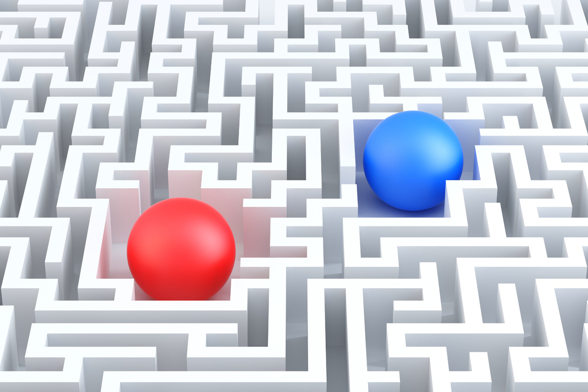 Two Spheres in a maze. 3D illustration - slon.pics - free stock photos and illustrations
