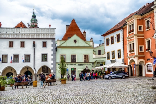 Unidentified people on the Namesti Svornosti square, historic old town. Cesky Krumlov, Czech Republic. September 06, 2016 - slon.pics - free stock photos and illustrations